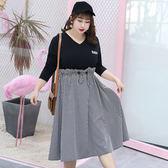 中大尺碼~假兩件小格子長袖連衣裙(XL~4XL)
