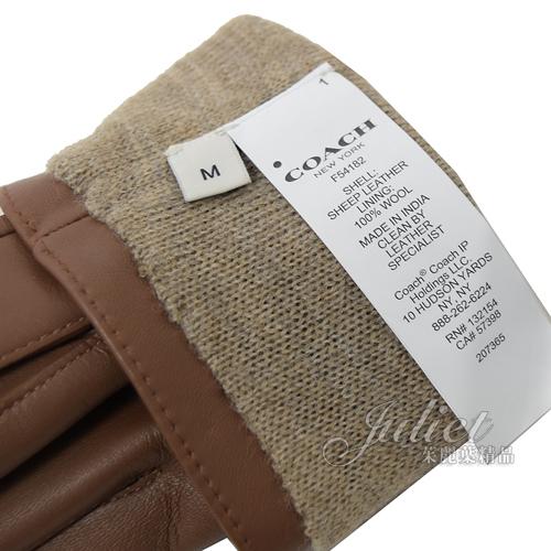 茱麗葉精品【全新現貨】 COACH 54182 壓印LOGO全羊皮革中性手套.咖