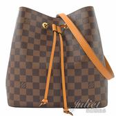 Louis Vuitton LV N40213 Neonoe 棋盤格紋肩斜兩用水桶包.姜黃 全新 現貨【茱麗葉精品】