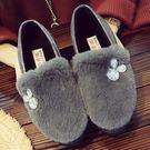 豆豆鞋季豆豆鞋女棉鞋女鞋加絨刷毛保暖雪地靴平底一腳蹬毛毛鞋