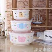 便當盒 陶瓷保鮮碗三件套微波爐加熱專用飯盒便當盒帶蓋餐盒套裝耐熱玻璃 綠光森林