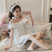 蕾絲花邊性感吊帶甜美無袖睡裙