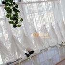 宜家►白色蕾絲碎花唯美窗紗穿桿簾提拉簾氣球簾隔斷簾客廳臥室飄窗窗簾 (200*150cm)