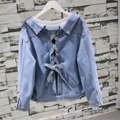 牛仔外套-單排扣寬鬆顯瘦長袖后背綁帶蝴蝶結牛仔開衫短外套634-062