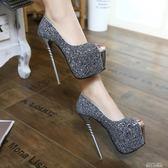 新上市17cm高跟鞋超細跟性感夜店淺口粉色閃亮片18cm16cm20cm 依凡卡時尚