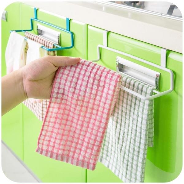 [超豐國際]廚房雙桿抹布架掛毛巾架 免打孔掛架門背式浴室毛巾桿掛