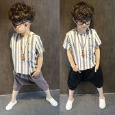 男童棉麻短袖襯衫2018夏裝新款童裝 兒童