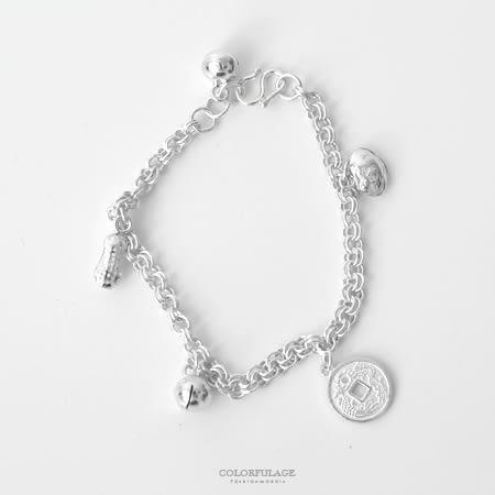 925純銀手鍊 吉祥如意鈴噹錢幣造型兒童手環 彌月送禮 抗過敏抗氧化【NPA27】