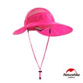 Naturehike 戶外百搭高防曬大帽簷輕巧可折疊遮陽帽 圓盤帽 粉紅