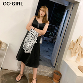 中大尺碼 (長版)性感黑色滑面細肩洋裝 - 適XL~4L《 68425HH 》CC-GIRL