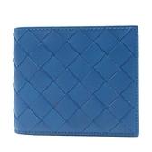 BOTTEGA VENETA 寶緹嘉 藍色編織牛皮對折短夾Intrecciato Bifold Wallet【BRAND OFF】