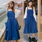 時尚搭配上衣背帶裙中大尺碼M-4XL/8813秋季套裝潮韓版寬鬆襯衫背帶裙兩件套洋氣減齡4F010胖胖唯依
