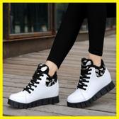 韓版內增高秋冬款女短靴加絨保暖馬丁靴厚底運動靴學生皮鞋防水潮