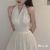 Mimo dk夢露款經典復古洋裝顯瘦露背v領掛脖收腰裙夏c 三角衣櫃