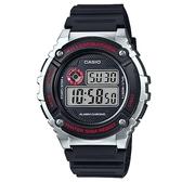 【CASIO】機械設計感電子錶-銀框(W-216H-1C)