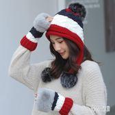 針織帽 帽子女冬天護耳秋冬季保暖手套韓版潮百搭加絨毛線帽 df5790 【Sweet家居】