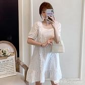 夏季新款純棉鏤空洋裝寬鬆休閒大碼女裝胖妹妹mm顯瘦仙女裙 檸檬衣舍