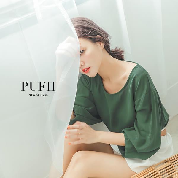 (現貨-綠)PUFII-雪紡上衣 圓領燈籠袖開衩雪紡上衣 4色-0315 現+預 春【ZP14249】