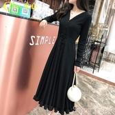 小黑裙黑色長裙2020秋裝新款女裝打底裙長款顯瘦連身裙長袖赫本小黑裙潮 店長推薦