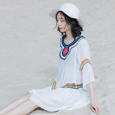 百搭蕾絲罩衫顯瘦沙灘防曬衣比基尼泳衣外搭披肩套頭外套TBF-10B快時尚