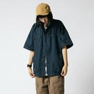 夏季美式中性多口袋工裝襯衣外套 男女款寬鬆短袖襯衫-Milano米蘭