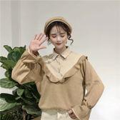 女士襯衫 秋季韓版喇叭袖襯衫長袖上衣女裝ins超火的衣服寬鬆襯衣 伊韓時尚