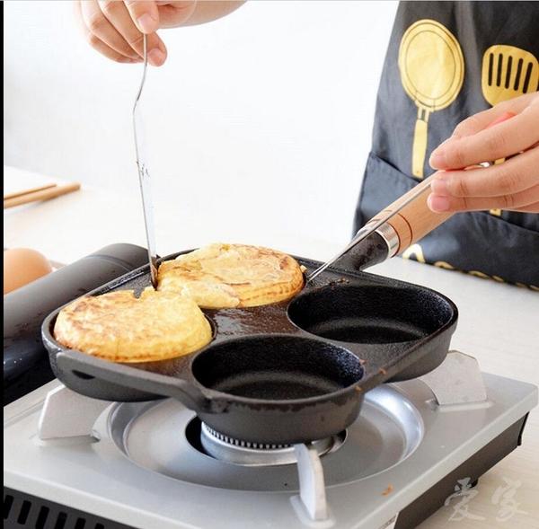 土城現貨 四孔雞蛋漢堡鍋早餐煎蛋鍋家用生鐵多用煎鍋無塗層不粘鍋 新年禮物