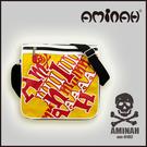 美式風格 骷髏頭 字母側背包 / 斜背包 / 郵差包 黃配紅 AMINAH~【am-0182】