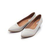 【Fair Lady】Soft芯太軟 尖頭素⾊時尚千⿃格紋楔型鞋 經典灰