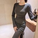 歐媛韓版 長袖洋裝 秋裝新款氣質名媛女人味圓領緊身顯瘦開叉包臀針織連身裙