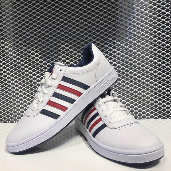 【獨家款】K-SWISS 白紅藍 女 皮革 復古 運動 休閒鞋 95585130