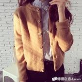 秋季新款女裝針織衫開衫韓版寬鬆外搭毛衣秋冬女士短款上衣外套