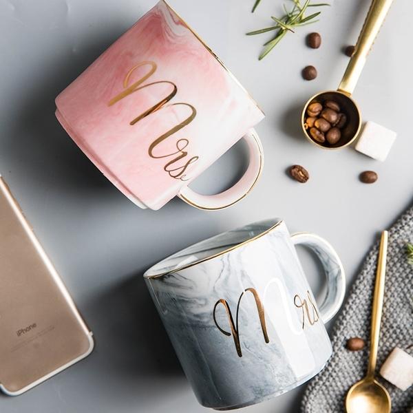 Mr/Ms杯子 情侶對杯 大理石紋 陶瓷馬克杯 歐式彩色牛奶 咖啡杯 水杯 生日結婚紀念日禮物【RS907】
