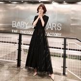 黑色小晚禮服女2019新款平時可穿長款氣場女王宴會氣質高貴洋裝 全館免運快速出貨