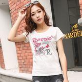 016夏季新款圓領白色T恤女韓版修身純色上衣百搭學生印花短袖     東川崎町