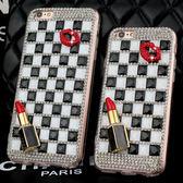 HTC U12+ U11 Desire12 A9s X10 A9S Uplay UUltra Desire10Pro 手機殼 水鑽殼 客製化 訂做 方塊滿鑽 黑白格子嘴唇