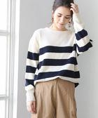 女橫條紋上衣 針織套裝 圓領 羔羊毛衣 可手洗 現貨 免運費 日本品牌【coen】