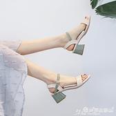 高跟鞋 涼鞋女夏2021新款韓版百搭中跟粗跟一字扣帶仙女風羅馬高跟鞋女鞋 愛麗絲
