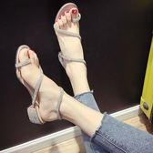 中跟涼鞋涼鞋2018新款女夏季時尚百搭水鉆蛇形纏繞綁帶粗跟中跟羅馬鞋 貝兒鞋櫃