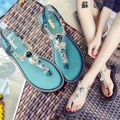 人字夾腳涼鞋羅馬沙灘水鑽夾腳涼鞋