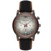 【台南 時代鐘錶 Emporio Armani】亞曼尼 AR11174 麂皮橡膠複合式錶帶 三眼計時男錶 鐵灰 43mm