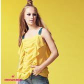 【SHOWCASE】個性撞色肩帶荷葉垂墜造型上衣(黃)