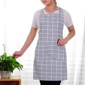 棉質布料家用廚房做飯圍裙正韓時尚背心式成人防油工作服定制【免運】