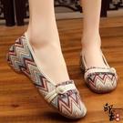 民族風百搭繡花鞋 時尚復古編織女單鞋 低跟淺口工作鞋布鞋 萬聖節鉅惠