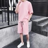 夏裝新款短袖套裝 男韓版潮流寬鬆五分袖t恤男短褲運動休閒一套服 JX2485『優童屋』