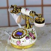 陶瓷電話機座機 可愛家庭仿古 時尚 田園創意 復古歐式來電顯QM 美芭