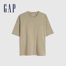Gap男裝 純棉基本款圓領短袖T恤 699888-卡其色