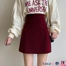 短裙 紅色a字半身裙春季女短裙2021年新款時尚修身顯瘦高腰皮裙包臀裙 coco