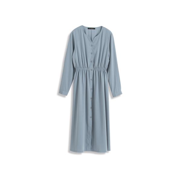 Queen Shop【01084685】小V領排釦設計雪紡洋裝*現+預*