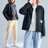 秋季新款正韓百搭棒球領卡通刺繡外套女寬鬆大碼休閒拉鏈開衫上衣